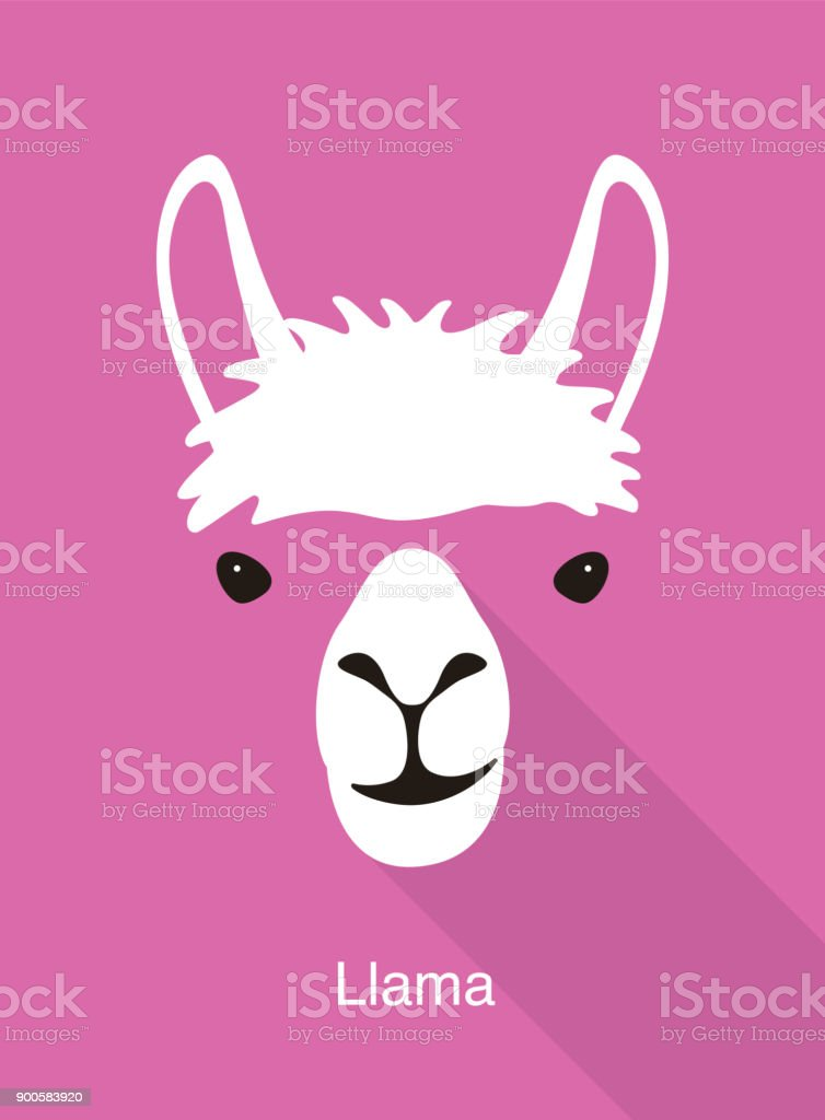 llama face flat icon design, vector illustration vector art illustration