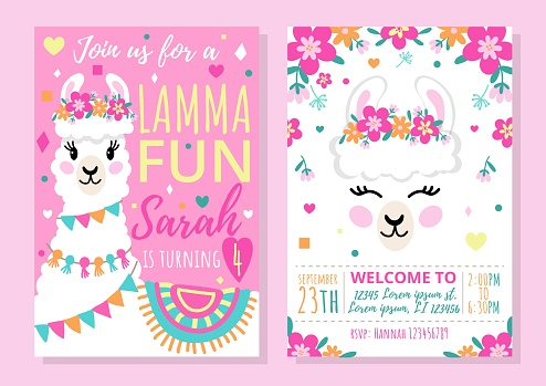 Llama party invitation template with colourful design