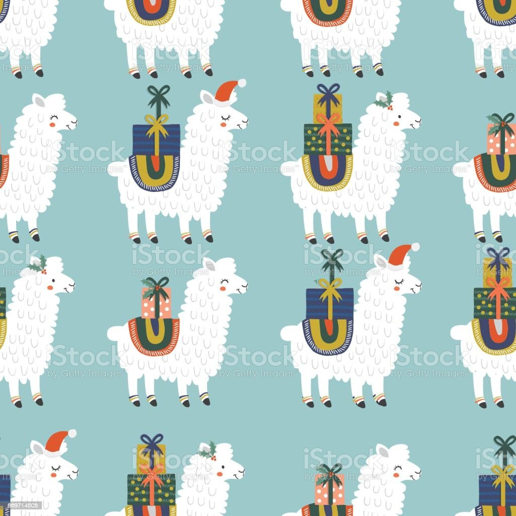 llama pattern vector art illustration