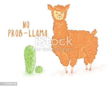 Llama vector quote with doodles. No prob llama motivational and inspirational quote. Simple cool white llama head drawing with sunglasses, hand drawn vector illustration for cards, t-shirts, cases. for logo, fabric, textile, texture, wrapping paper, wallpaper, cards, web design. Hand drawn illustration