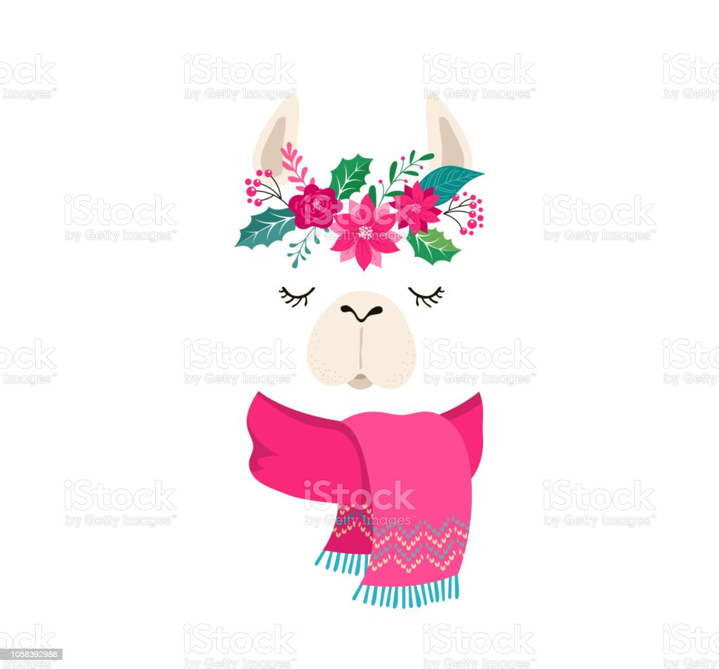 Llama Winter Illustration Cute Design For Nursery Poster Merry Christmas Birthday Greeting