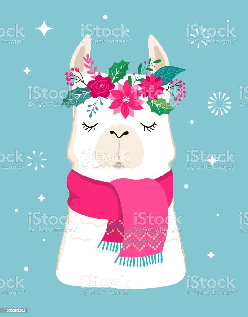 Lama Winter Abbildung Niedlichen Design Fur Kinderzimmer Poster