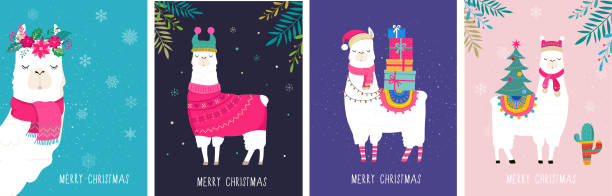 라마 겨울 그림, 보육, 포스터, 메리 크리스마스, 생일 인사말 카드에 대 한 귀여운 디자인 - mountain top stock illustrations