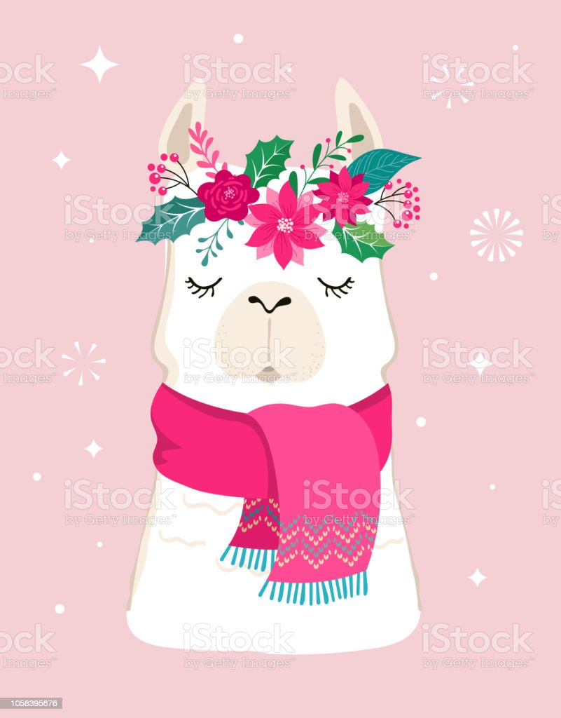 Llama Winter Illustration Cute Design For Nursery Poster Merry Christmas Birthday Greeting