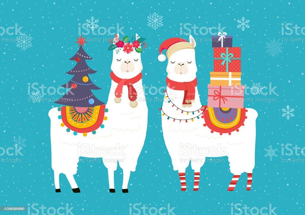 Llama Winter Illustration Cute Design For Nursery Poster