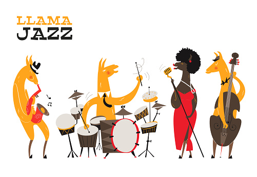 Llamas Jazz. Funny card with llamas jazz band. Llama sings into a golden microphone, llamas plays on the saxophone, double bass, snare drum. Print for fabric, t-shirt, poster, bag. Mid-century style.