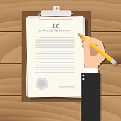 llc limited liability company illustration with hand signing a paper