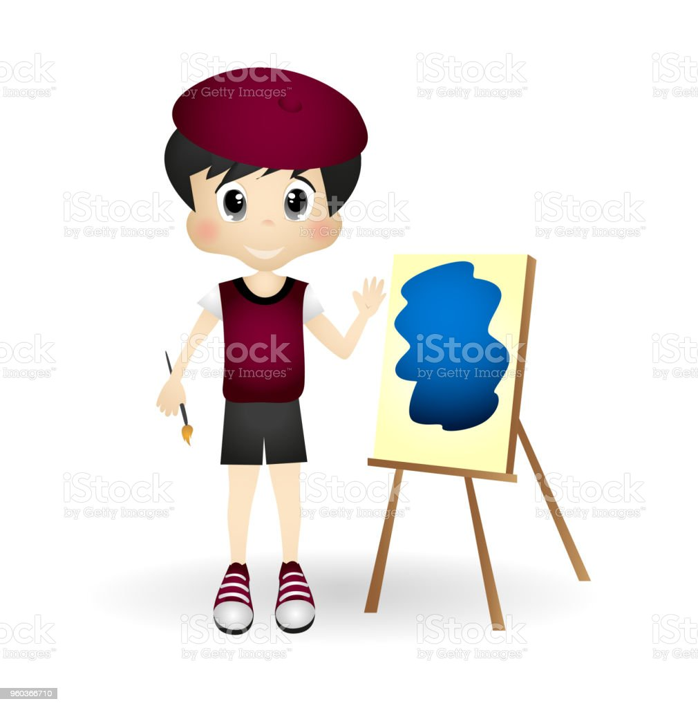 Llittle boy is an painting artist vector art illustration