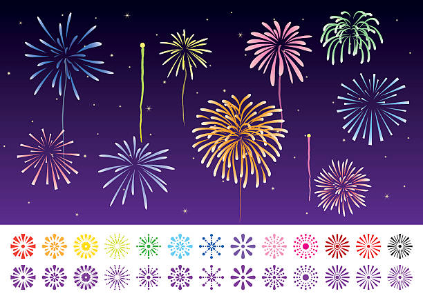 llustration and an icon set of fireworks - 七夕点のイラスト素材/クリップアート素材/マンガ素材/アイコン素材