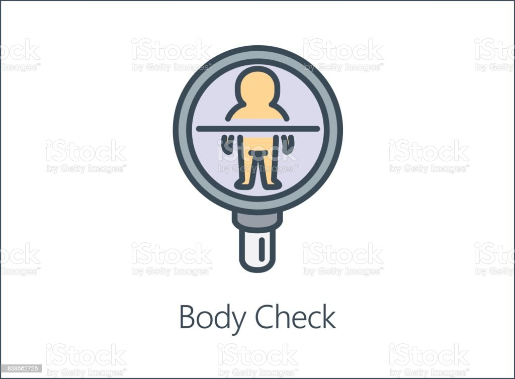 llustration icon of Magnifying glass looking human Body. vector art illustration