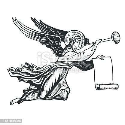 llustration of the angel. Vector illustration. Black and white vector objects.
