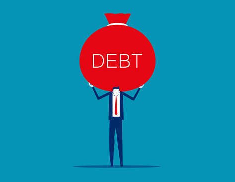 A load of debt on back. Business financial loan and arrears concept. Flat cartoon vector illustration style