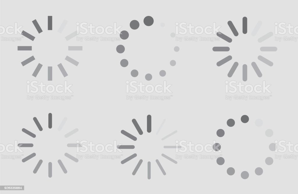 Load Sign Indicator Waiting Icons Set Loading Symbol Stock Vector