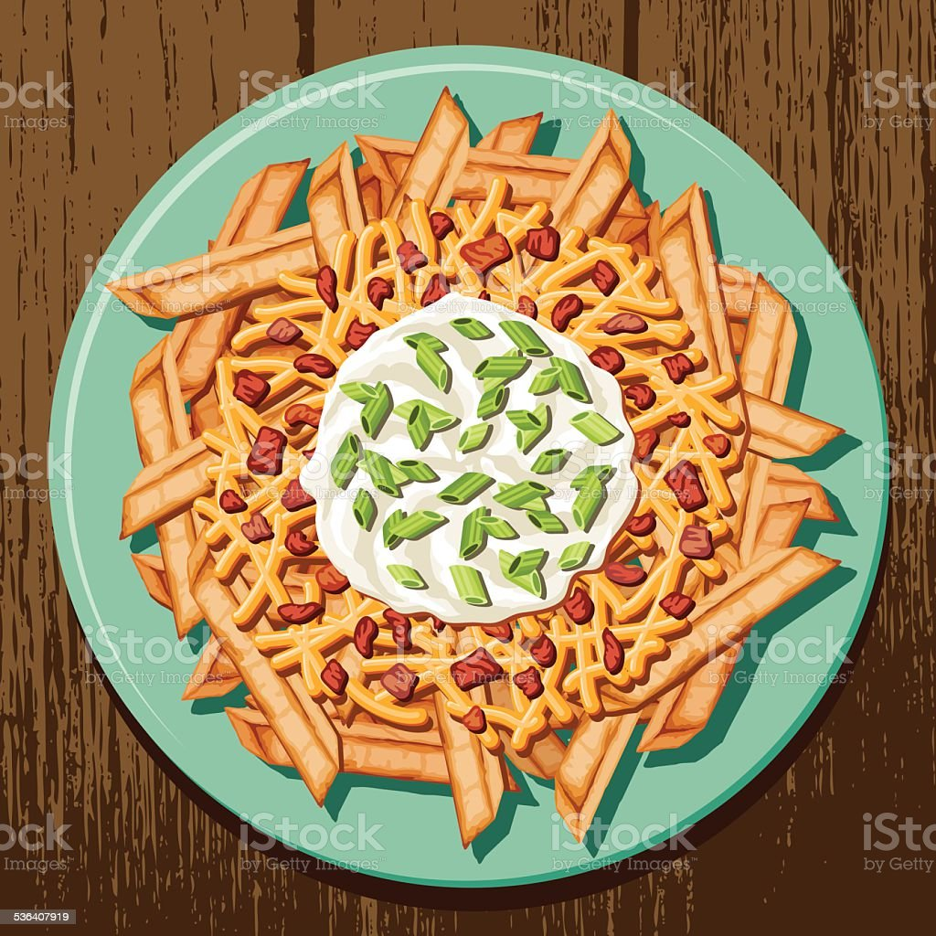 Loaded Baked Potato French Fries vector art illustration