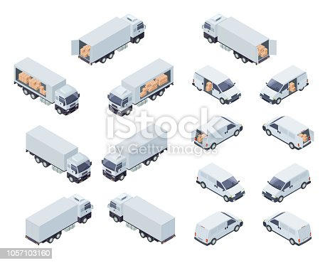 Commercial Cargo Transport Isometric Projection Vector Icons Set Isolated on White Background. Cargo Truck With Semi-Trailer and Minivan or Minibus Loaded with Boxes 3d Illustrations Collection