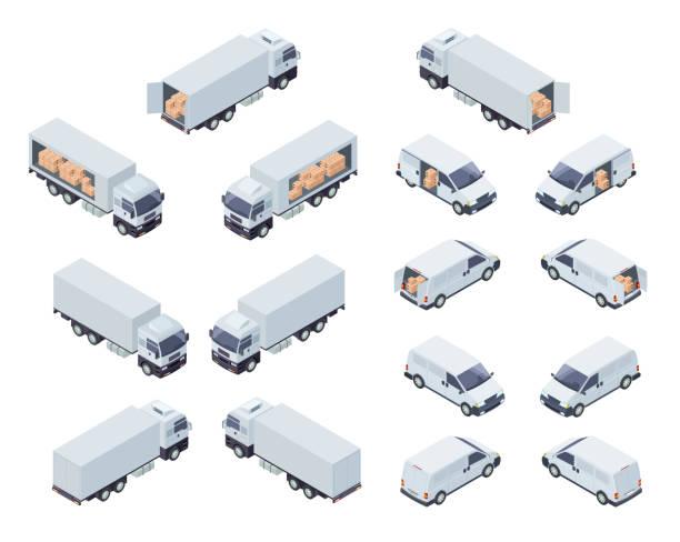 załadowany zestaw izometrycznych ikon wektorowych pojazdów ciężarowych - rzut izometryczny stock illustrations
