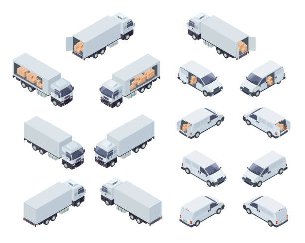 Loaded Cargo Vehicles Isometric Vector Icons Set Commercial Cargo Transport Isometric Projection Vector Icons Set Isolated on White Background. Cargo Truck With Semi-Trailer and Minivan or Minibus Loaded with Boxes 3d Illustrations Collection semi truck stock illustrations