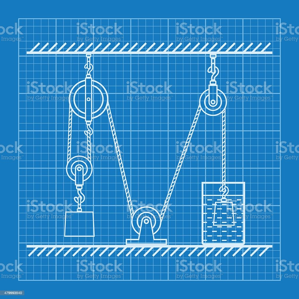 Loaded movable pulleys and rope blueprint stock vector art more loaded movable pulleys and rope blueprint royalty free loaded movable pulleys and rope blueprint stock malvernweather Image collections