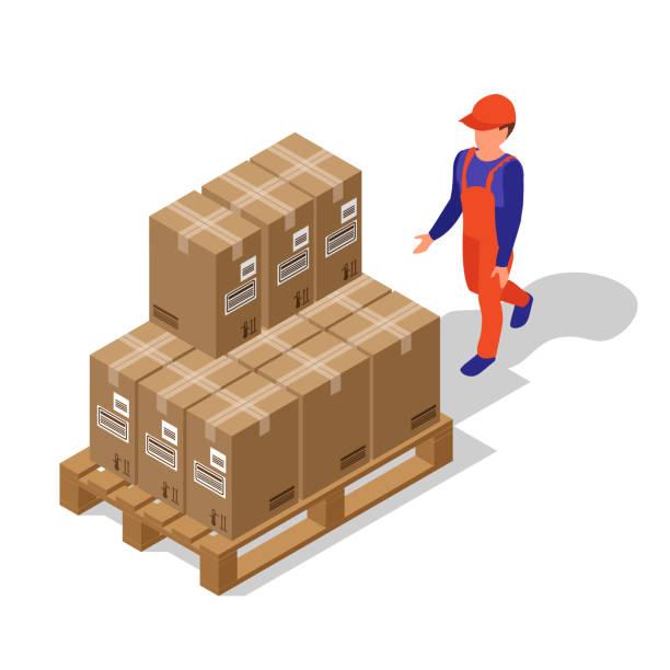 illustrazioni stock, clip art, cartoni animati e icone di tendenza di loader carries boxes. man worker. parcels are on the pallet. isometric 3d flat - prodotti supermercato