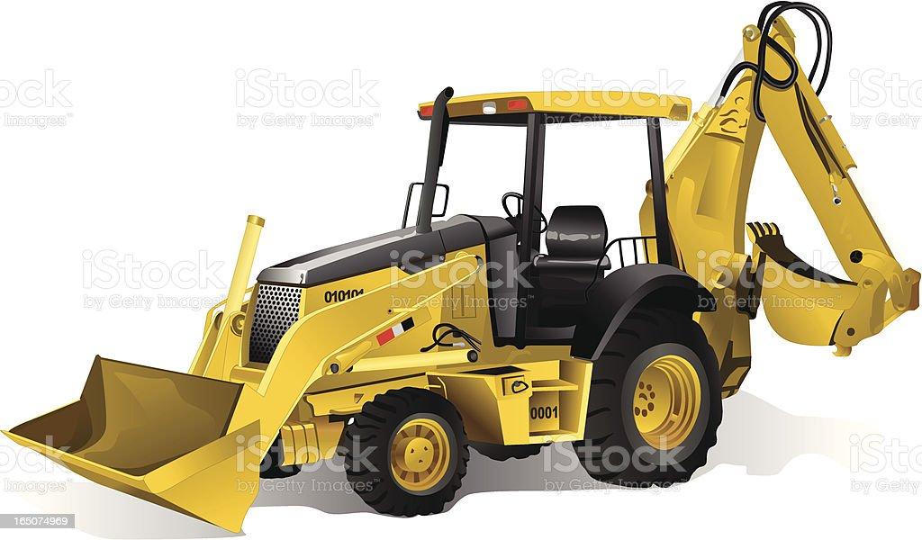 Loader Excavator Bulldozer vector art illustration