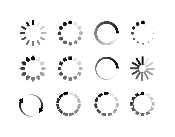 Loader icon vector circle button. Load sign ymbol progress bar for upload download round process Loader icon vector circle button. Load sign ymbol progress bar for upload download round process. downloading stock illustrations