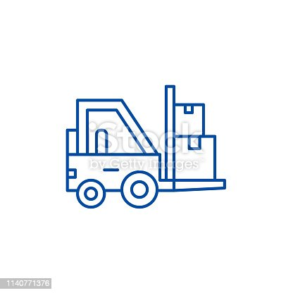 Loader in stock line concept icon. Loader in stock flat  vector website sign, outline symbol, illustration.