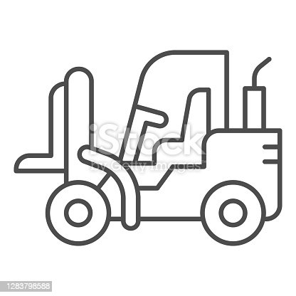 istock Loader thin line icon, heavy equipment concept, Fork lift sign on white background, Forklift Loader icon in outline style for mobile concept and web design. Vector graphics. 1283798588