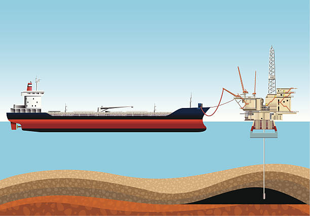 Loading an Oil Tanker. vector art illustration