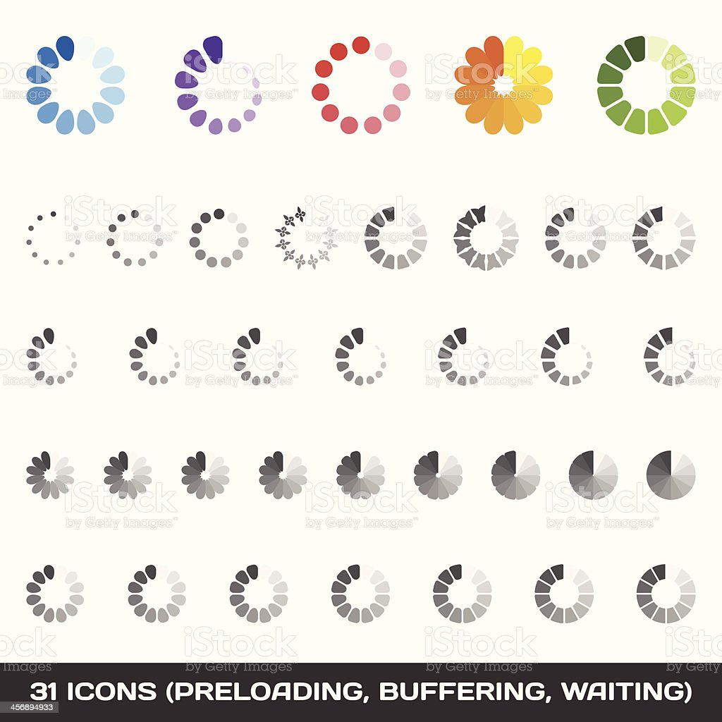 Loading And Buffering Icon Set. Preloaders. Vector vector art illustration