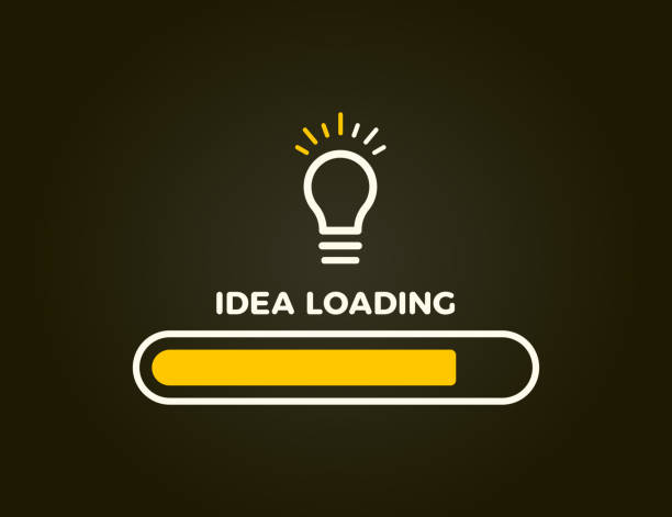 Loading bar almost complete with idea beeing processed on a lightbulb. Vector illustration design vector eps10 incomplete stock illustrations