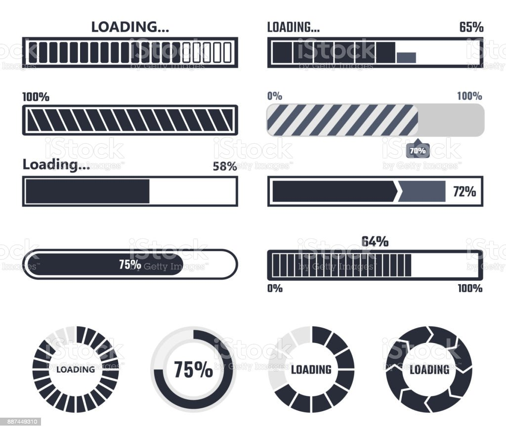 Loading bar elements vector art illustration