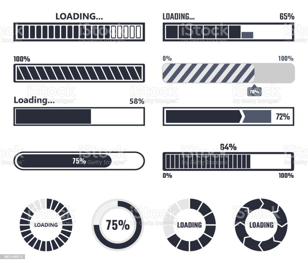 Elementos de barra de carregamento - ilustração de arte em vetor