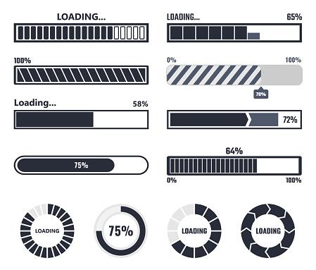 Loading Bar Elements - Stockowe grafiki wektorowe i więcej obrazów Aplikacja mobilna