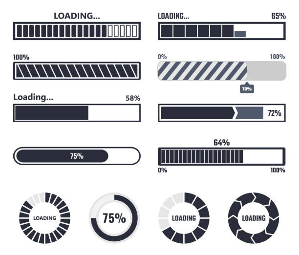 Loading bar elements vector art illustration