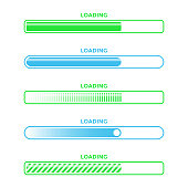 Loading Bar Progress Icon Set Vector Design. Vector Illustration EPS 10 File.