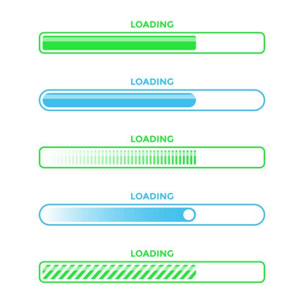 ilustrações de stock, clip art, desenhos animados e ícones de loading bar progress icon set vector design. - banda larga