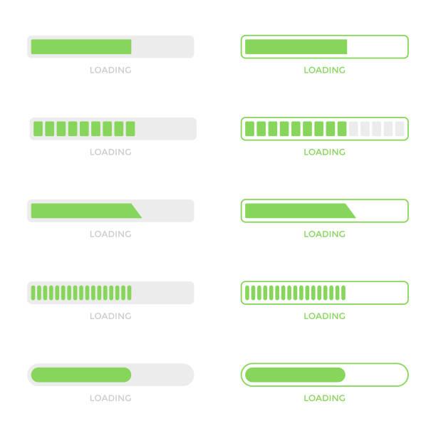 ilustrações de stock, clip art, desenhos animados e ícones de loading bar progress icon set vector design. - consumo exibicionista