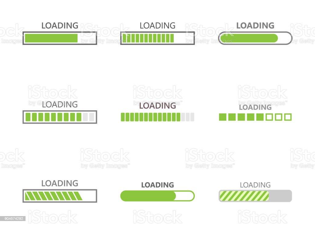 barra de ícones de progresso de carregamento - ilustração de arte em vetor