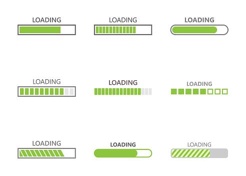 Loading Bar Progress Icons - Stockowe grafiki wektorowe i więcej obrazów Aplikacja mobilna