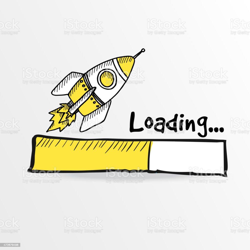 Loading bar with a doodle rocket, vector illustration vector art illustration