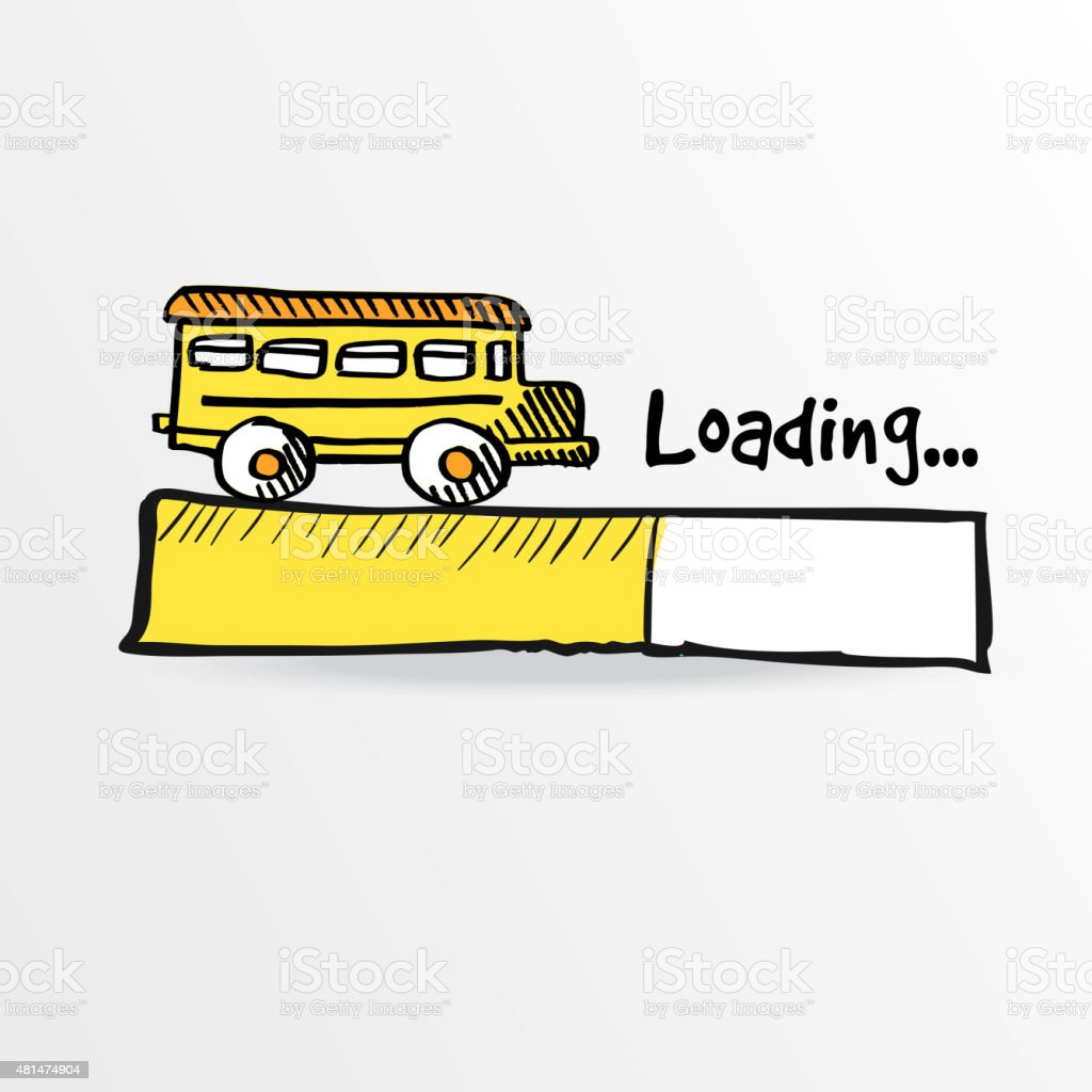 Loading bar with a yellow school bus vector stock vector art loading bar with a yellow school bus vector royalty free stock vector art voltagebd Choice Image