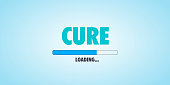 Preparing, expecting and future projection concept: Loading bar on blue background with cure text.
