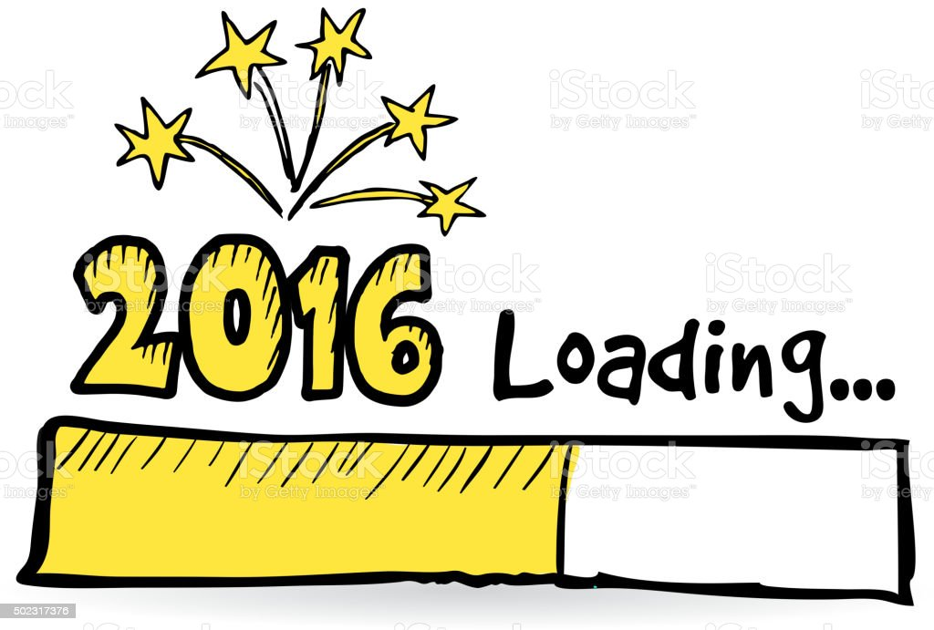 2016 loading bar with fireworks new year or party concept royalty free 2016 loading