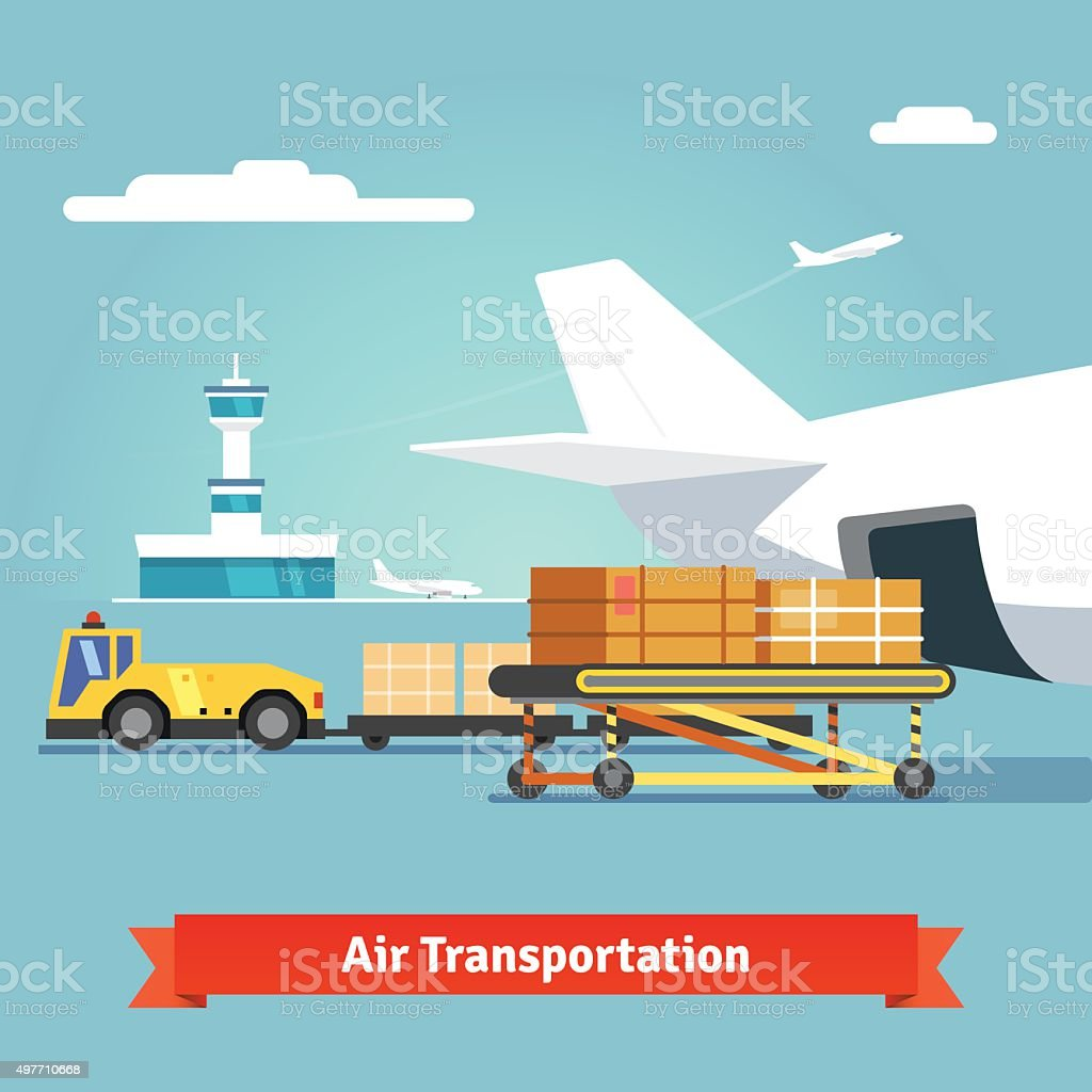 Loading boxes to flight aircraft vector art illustration