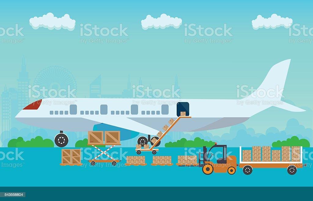 Loading boxes to preparing to flight aircraft. vector art illustration
