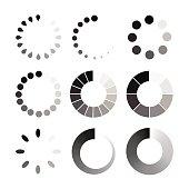 Loading / buffering icon set vector illustration