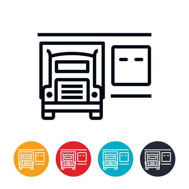 Loading Dock With Semi Icon vector art illustration