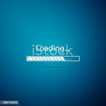 Loading icon isolated on blue background. Progress bar icon. Flat design. Vector Illustration