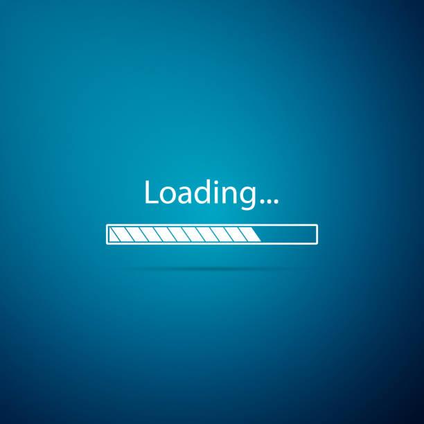 ilustrações de stock, clip art, desenhos animados e ícones de loading icon isolated on blue background. progress bar icon. flat design. vector illustration - banda larga