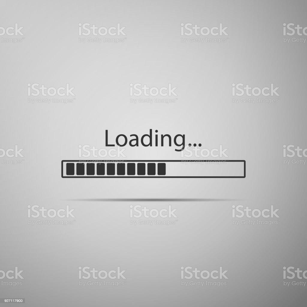 Loading icon isolated on grey background. Progress bar icon. Flat design. Vector Illustration vector art illustration